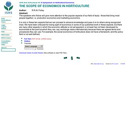 THE SCOPE OF ECONOMICS IN HORTICULTURE