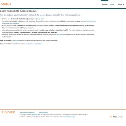 Scopus - Welcome to Scopus