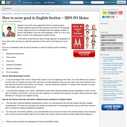 How to score good in English Section – IBPS PO Mains
