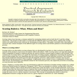 Scoring rubrics: what, when and how?. Moskal, Barbara M.