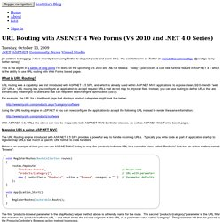 ScottGu's Blog - URL Routing with ASP.NET 4 Web Forms (VS 2010 and .NET 4.0 Series)
