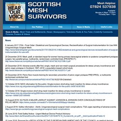 Scottish MESH Survivors, News and Media Scotland, England, Worldwide
