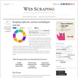 Scraping software, services and plugins sum up
