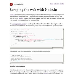 Scraping the web with Node.io