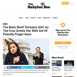 'I've Been Shot!' Screams AOC As Ted Cruz Greets Her With Set Of Friendly Finger Guns