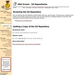 GNU Screen - Git Repositories [Savannah]