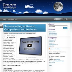 Screencasting software: Comparison and features | Dream Web Designs