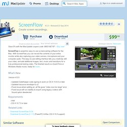Download ScreenFlow for Mac - Create screen recordings. MacUpdate Mac Software Downloads