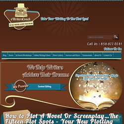 How to Plot A Novel Or Screenplay…The Fifteen Plot Spots – Your New Plotting Tool :eWritersCoach