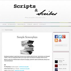 Sample Screenplays