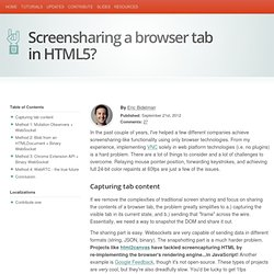 Screensharing a browser tab in HTML5?