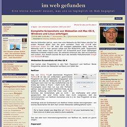 Komplette Screenshots von Webseiten mit Mac OS X, Windows und Linux anfertigen bei im web gefunden