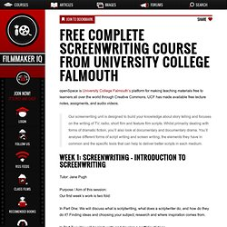 Free Complete Screenwriting Course from University College Falmouth
