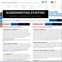 Screenwriting Jobs - Screenwriting Staffing