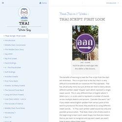Thai Script: First Look - Learn Thai From A White Guy - Learn Thai Online