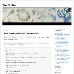 Script de sauvegarde Nagios – Centreon (FAN)