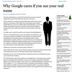 Why Google cares if you use your real name