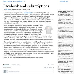 Facebook and subscriptions