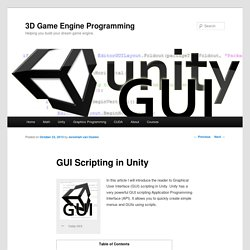 GUI Scripting in Unity3D Game Engine Programming