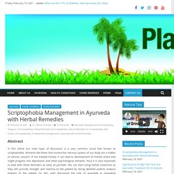 Scriptophobia Management in Ayurveda with Herbal Remedies