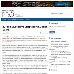 20 Free Must-Have Scripts for InDesign Users - CreativePro.com
