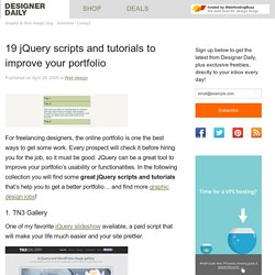 18 jQuery scripts and tutorials to improve your portfolio