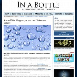Si scrive H2O e si legge acqua, ecco cosa c dentro un bicchiere