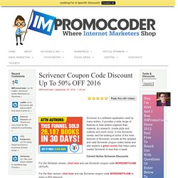 Scrivener Coupon Code Discount Up To 50% OFF 2016