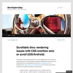 Scrollable divs: rendering issues with CSS overflow auto or scroll (iOS/Android)