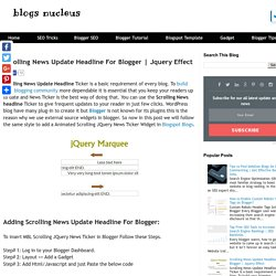 Scrolling News Update Headline For Blogger