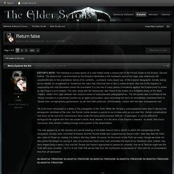 Return false - Elder Scrolls Lore