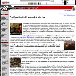 The Elder Scrolls III: Morrowind Interview