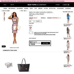 Midi Scuba Sheath Dress - Medallion Print - New York & Company