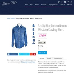 Scully Blue Cotton Denim Western Cowboy Shirt – Bronco Bill's