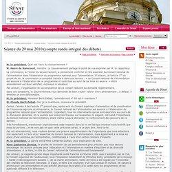 SENAT - Séance du 20 mai 2010 (compte rendu intégral des débats)