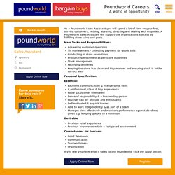 rg   pearltreesa poundworld sales assistant will support the organisations success by fulfilling store  s and goals  main tasks and responsibilities  answering customer