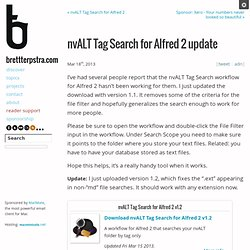 nvALT Tag Search for Alfred 2 update
