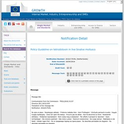 EUROPE 18/04/16 Policy Guideline on tetrodotoxin in live bivalve molluscs