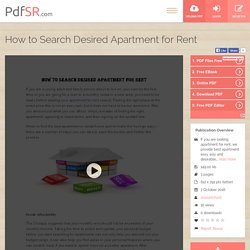 How to Search Desired Apartment for Rent