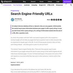Search Engine-Friendly URLs