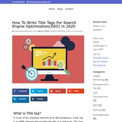 How To Write Title Tags For Search Engine Optimisation(SEO)?