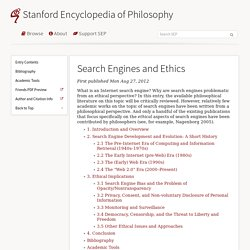 Search Engines and Ethics