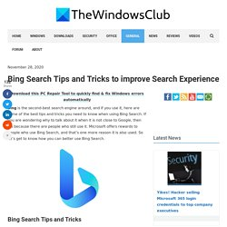 Bing Search Tips and Tricks to improve Search Experience