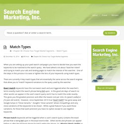 Match Types - Search Engine Marketing, Inc. - The BookSearch Engine Marketing, Inc. — The Book