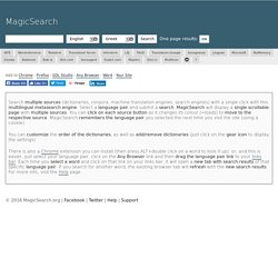 Magic Search: multiple dictionary lookup