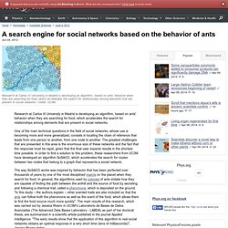 A search engine for social networks based on the behavior of ants
