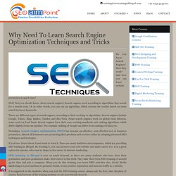 Why Need To Learn Search Engine Optimization Techniques and Tricks