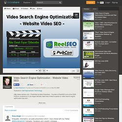 Video Search Engine Optimization - Website Video Seo - SlideShare