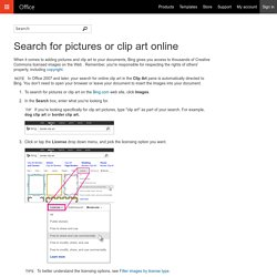 Search for pictures or clip art online
