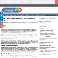 Search, fake news and politics - an international study